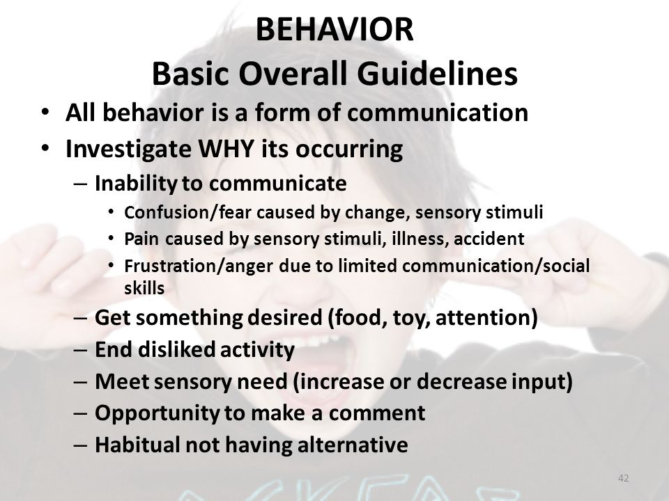 BEHAVIOR Basic Overall Guidelines