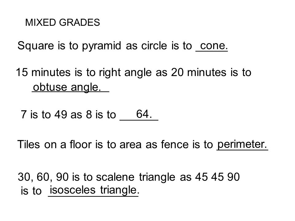 Square is to pyramid as circle is to _____ cone.