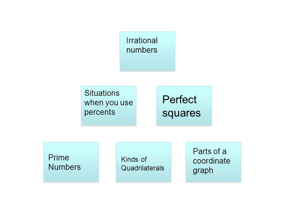 Perfect squares Irrational numbers Situations when you use percents