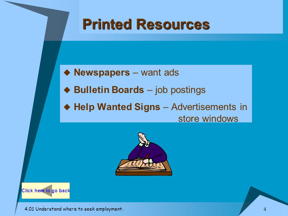Printed Resources Newspapers – want ads Bulletin Boards – job postings