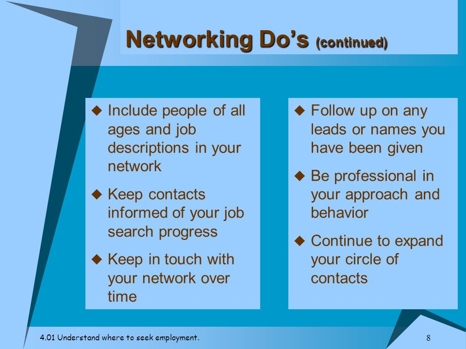Networking Do's (continued)
