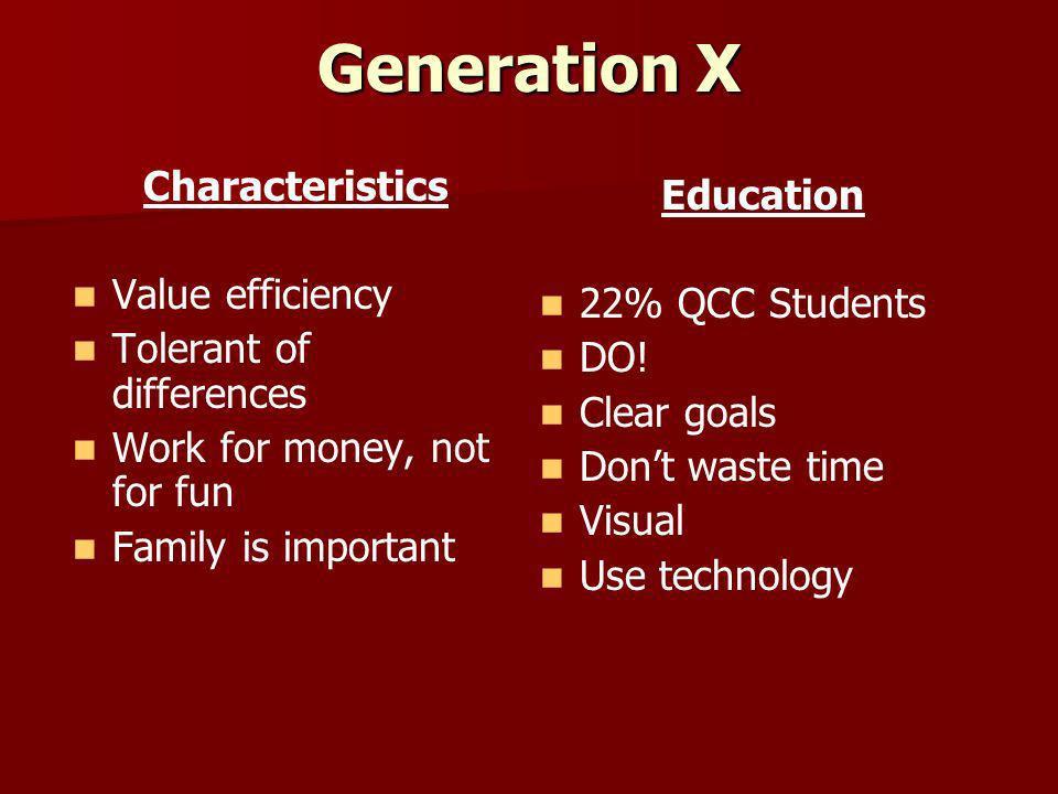 Generation X Characteristics Education Value efficiency