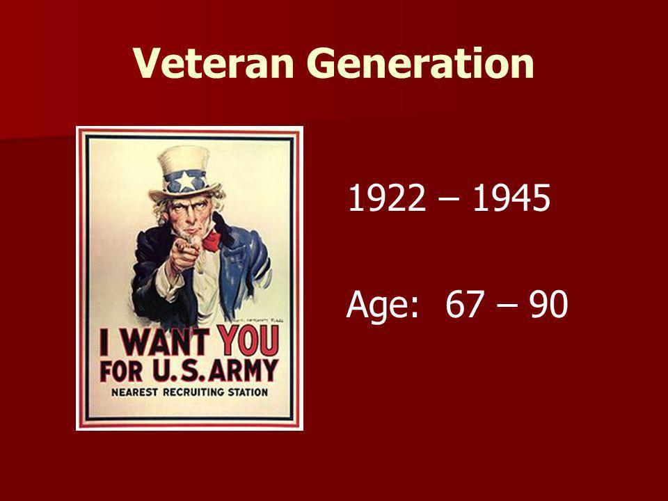 Veteran Generation 1922 – 1945 Age: 67 – 90 Faculty, adjunct faculty,