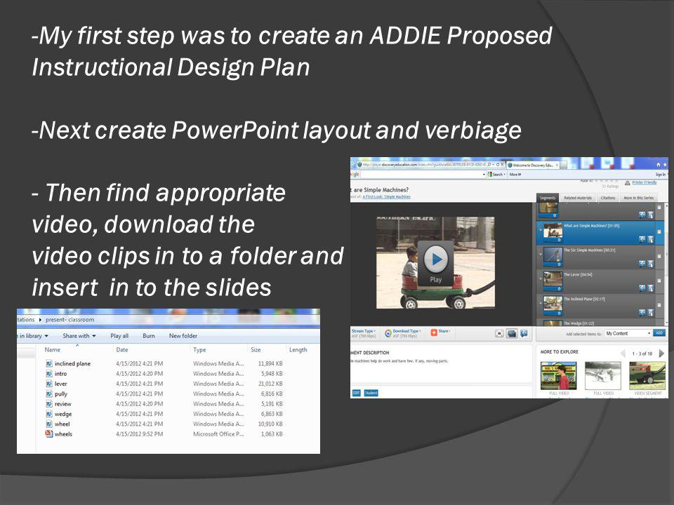 -My first step was to create an ADDIE Proposed Instructional Design Plan -Next create PowerPoint layout and verbiage - Then find appropriate video, download the video clips in to a folder and insert in to the slides
