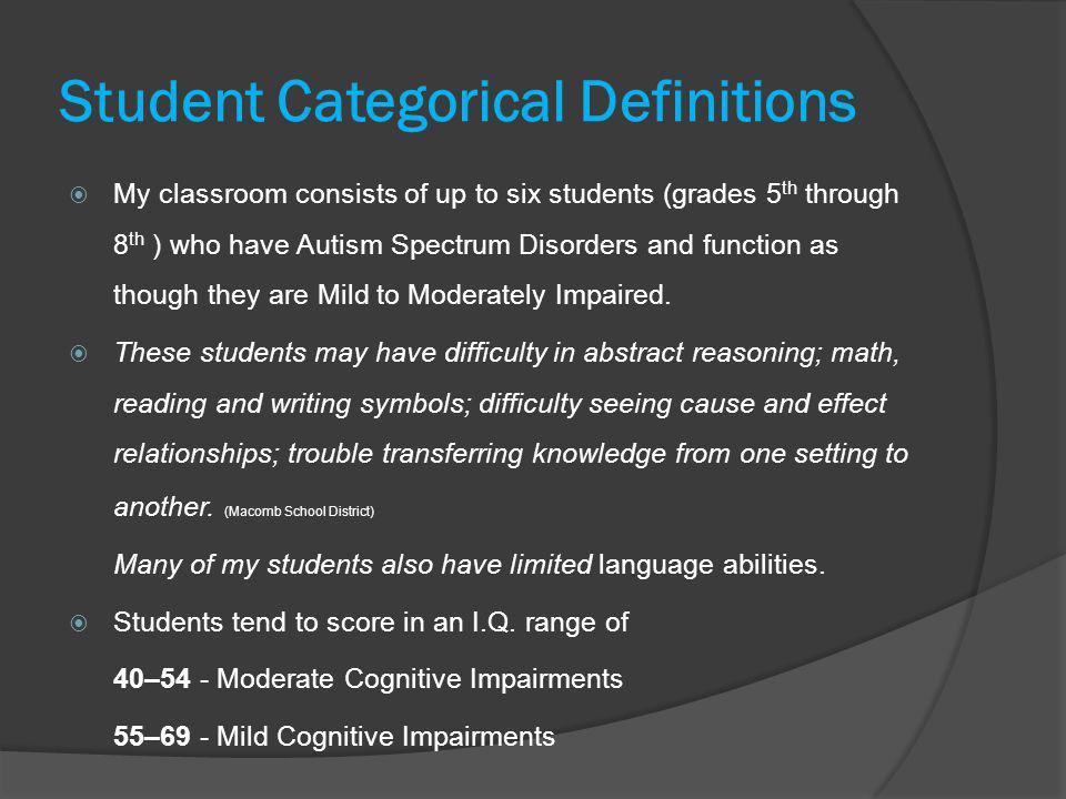 Student Categorical Definitions