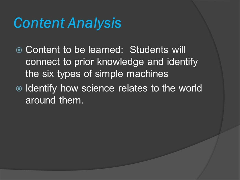Content Analysis Content to be learned: Students will connect to prior knowledge and identify the six types of simple machines.