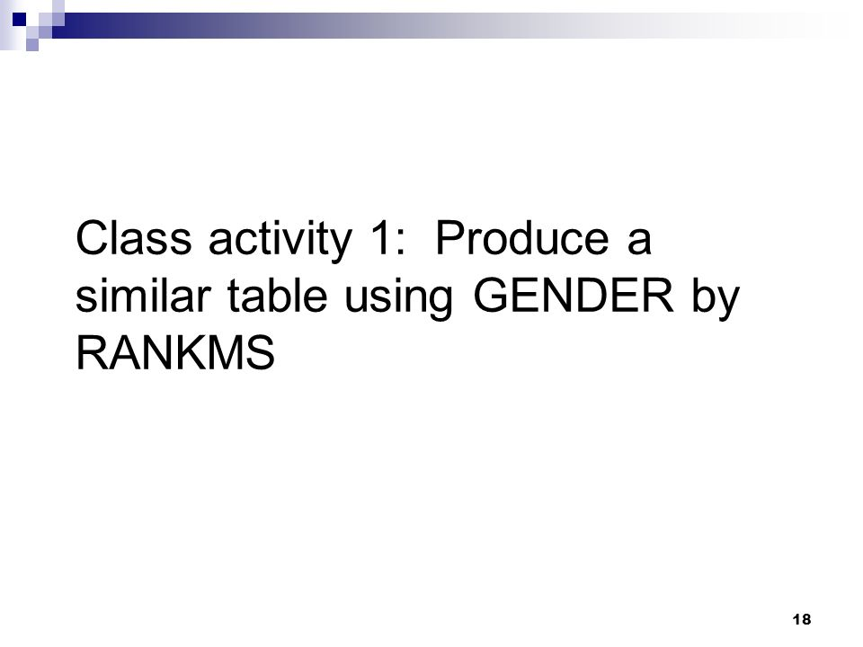Class activity 1: Produce a similar table using GENDER by RANKMS