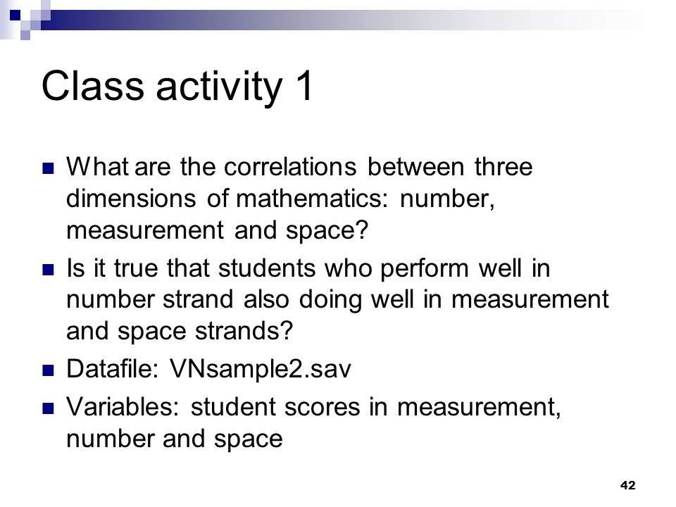 Class activity 1 What are the correlations between three dimensions of mathematics: number, measurement and space