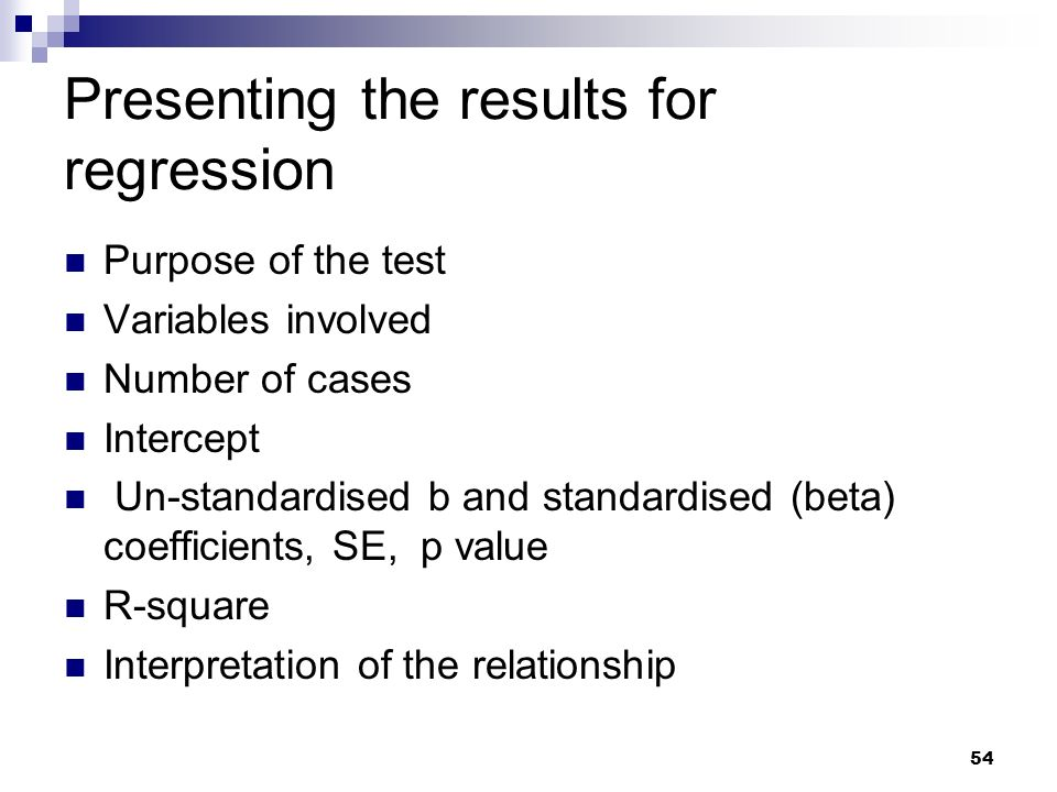 Presenting the results for regression
