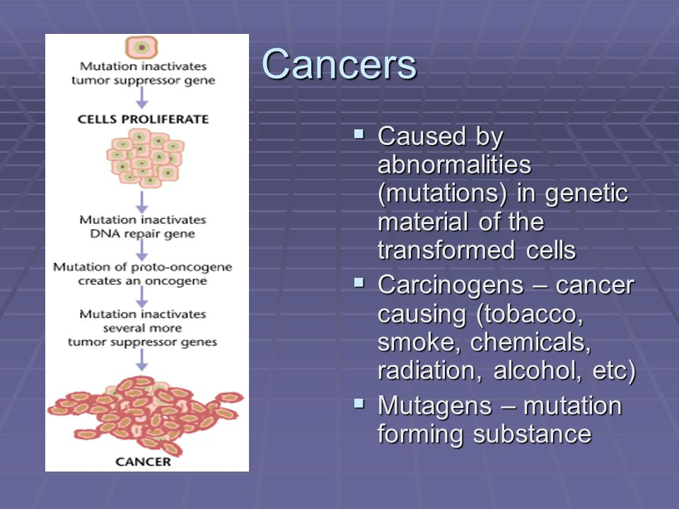 Cancers Caused by abnormalities (mutations) in genetic material of the transformed cells.