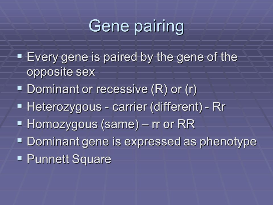 Gene pairing Every gene is paired by the gene of the opposite sex