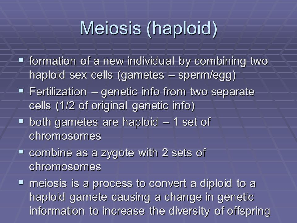 Meiosis (haploid) formation of a new individual by combining two haploid sex cells (gametes – sperm/egg)