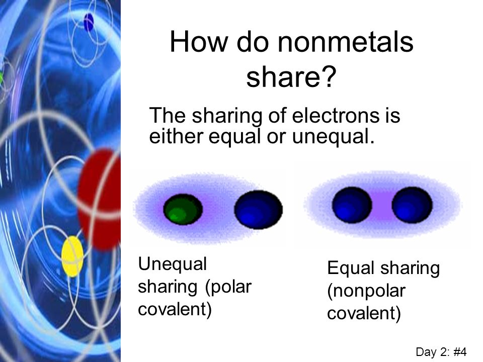 How do nonmetals share The sharing of electrons is either equal or unequal. Unequal sharing (polar covalent)