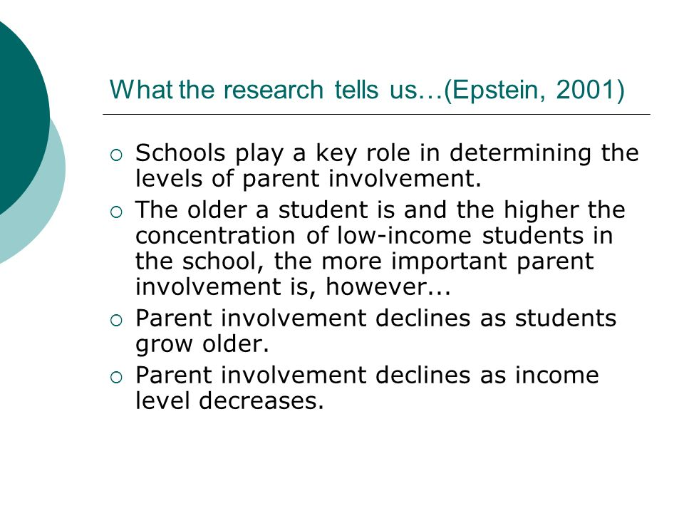 What the research tells us…(Epstein, 2001)