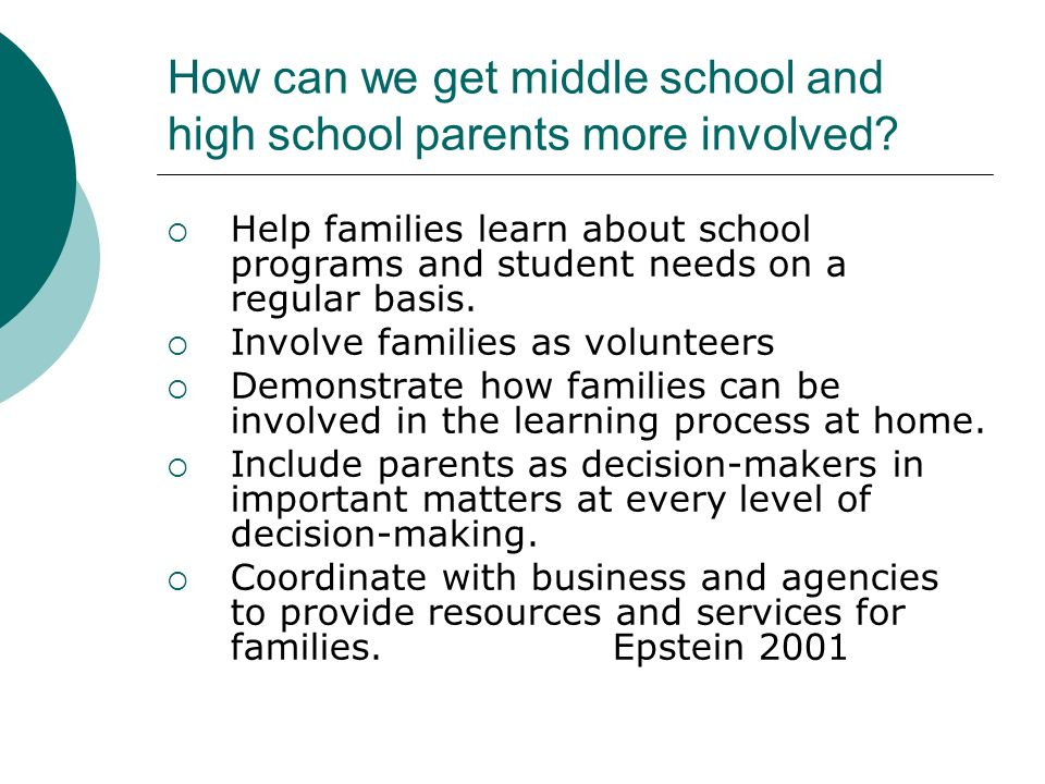 How can we get middle school and high school parents more involved