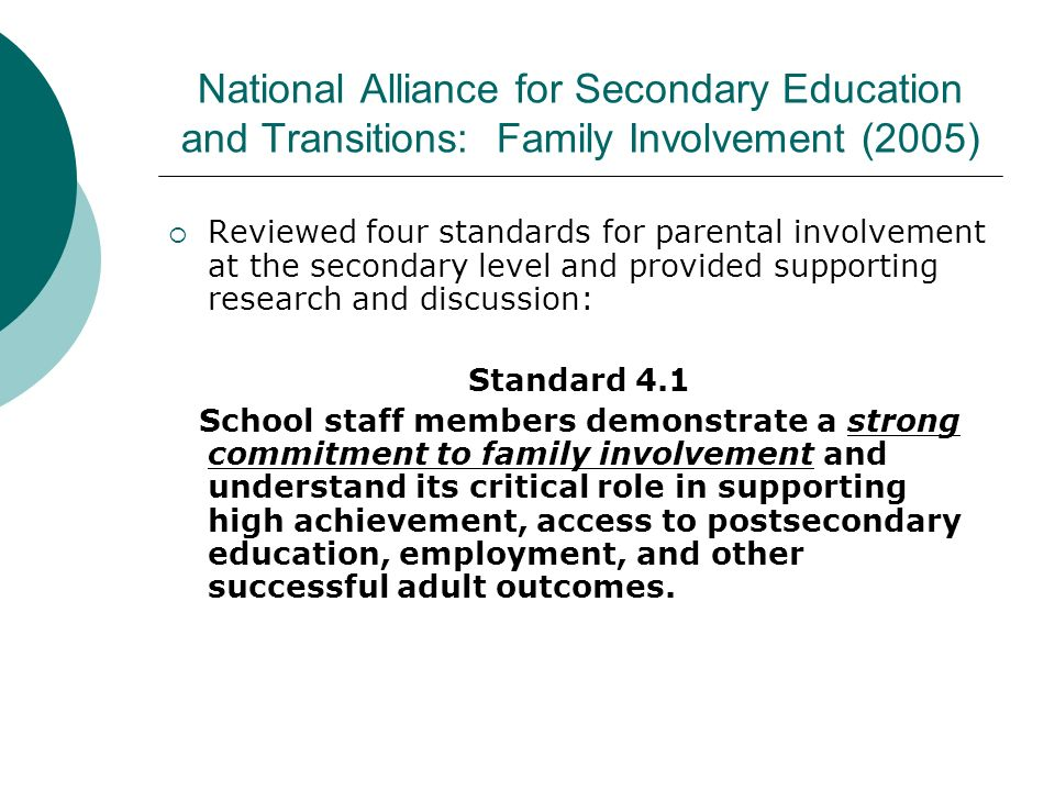National Alliance for Secondary Education and Transitions: Family Involvement (2005)