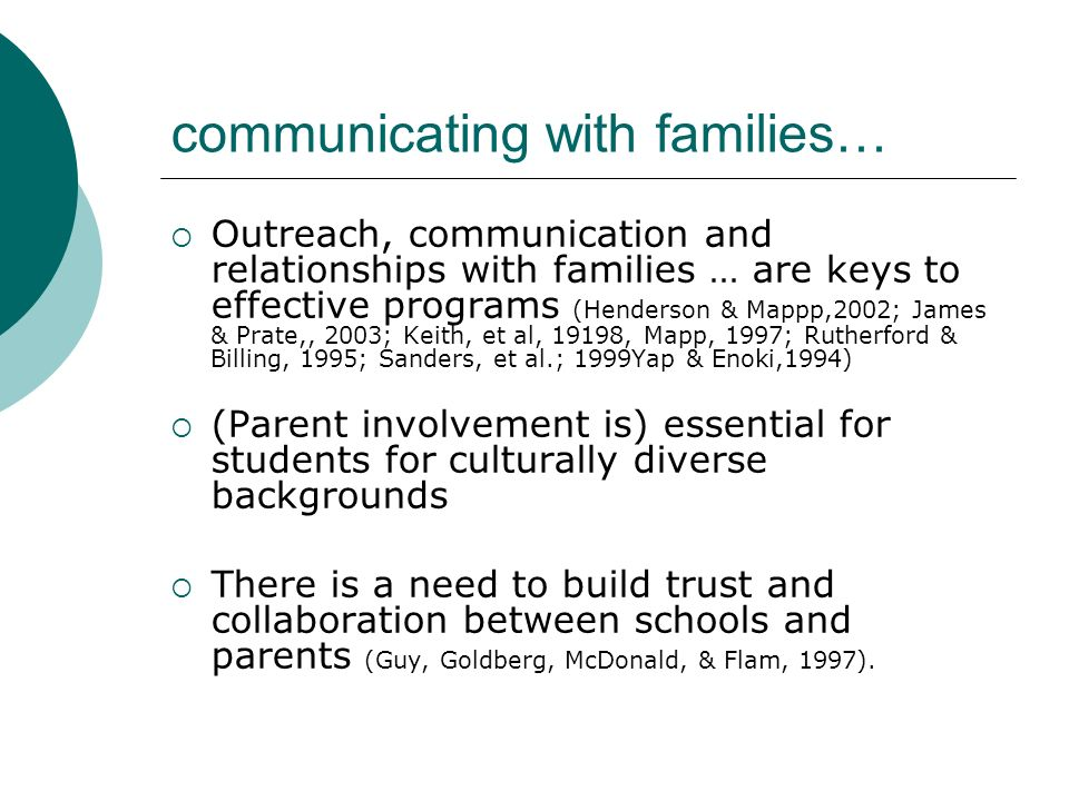 communicating with families…