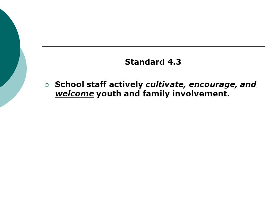 Standard 4.3 School staff actively cultivate, encourage, and welcome youth and family involvement.