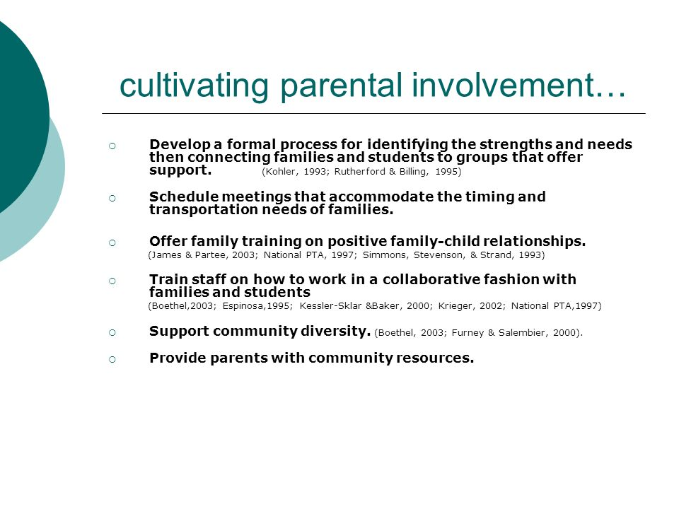 cultivating parental involvement…
