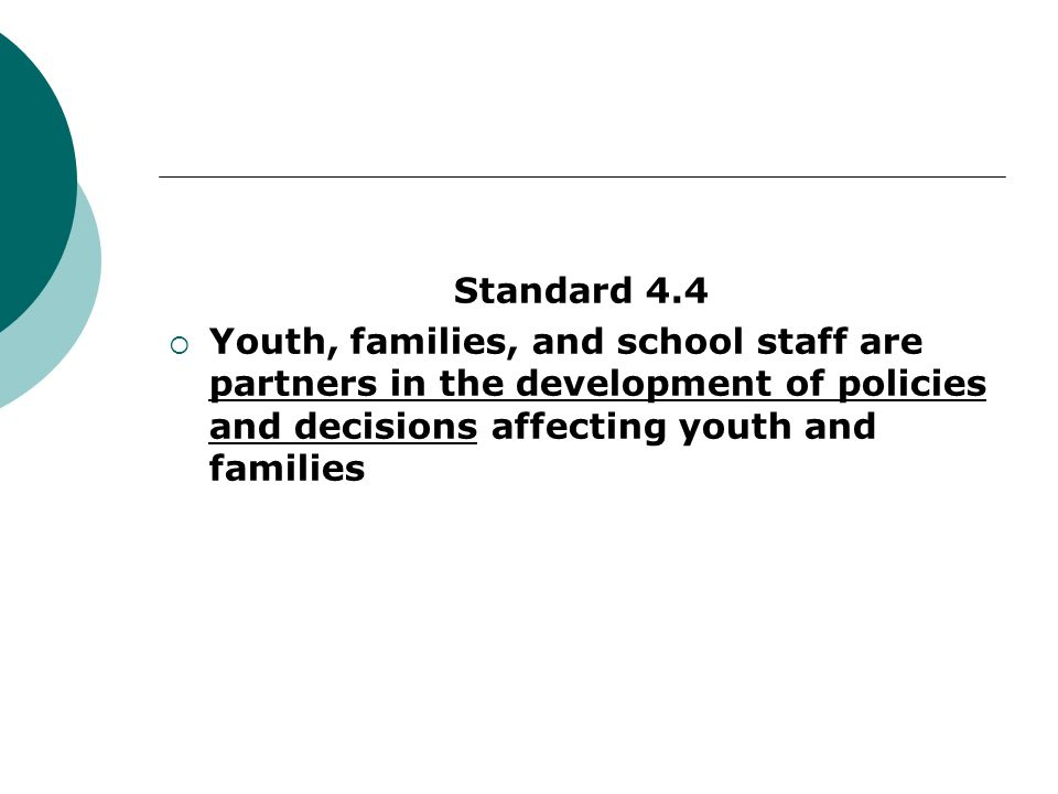Standard 4.4Youth, families, and school staff are partners in the development of policies and decisions affecting youth and families.