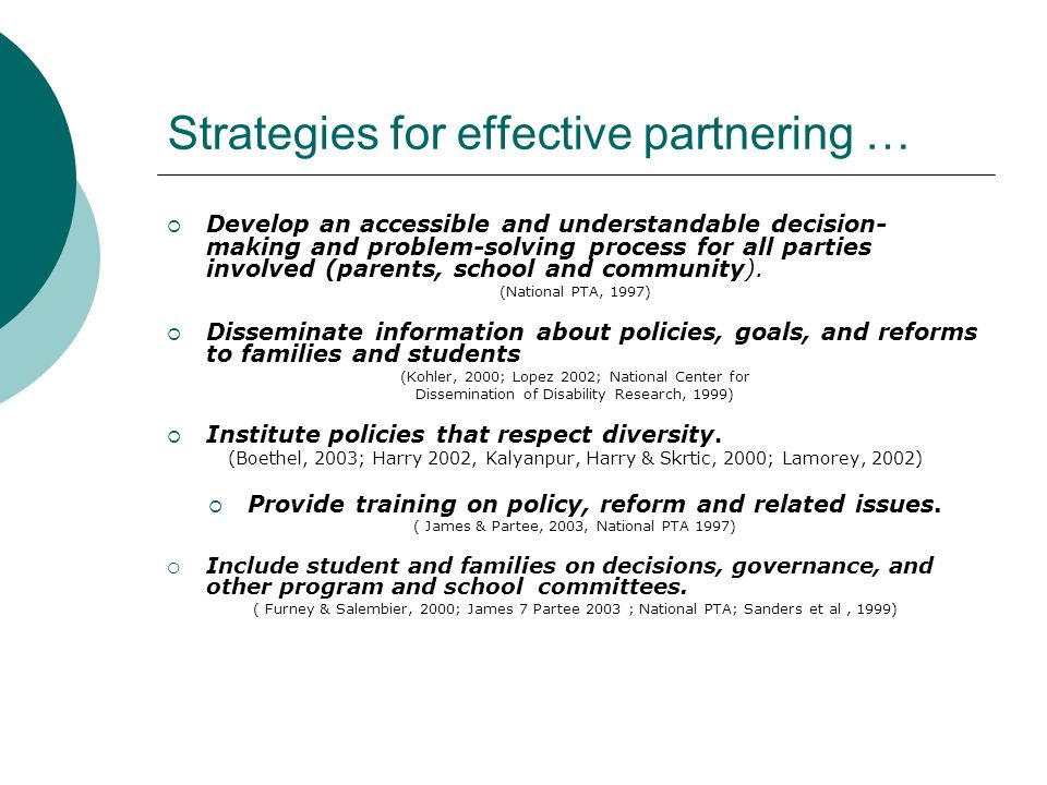 Strategies for effective partnering …