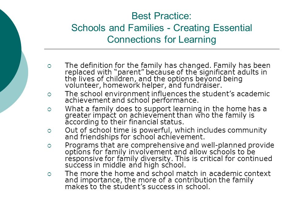 Best Practice: Schools and Families - Creating Essential Connections for Learning