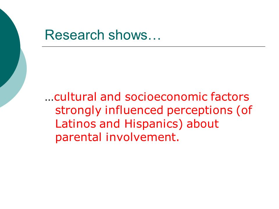 Research shows… …cultural and socioeconomic factors strongly influenced perceptions (of Latinos and Hispanics) about parental involvement.