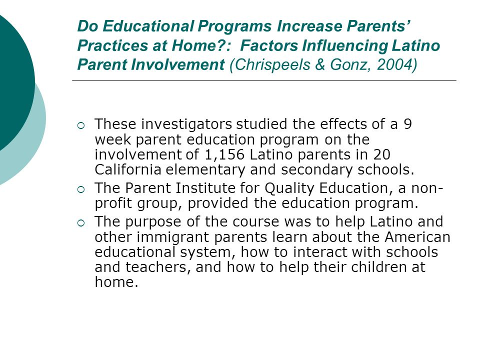 Do Educational Programs Increase Parents' Practices at Home
