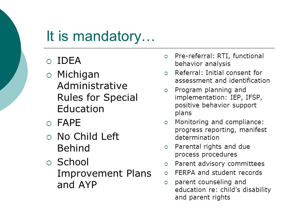 It is mandatory… Pre-referral: RTI, functional behavior analysis. Referral: Initial consent for assessment and identification.