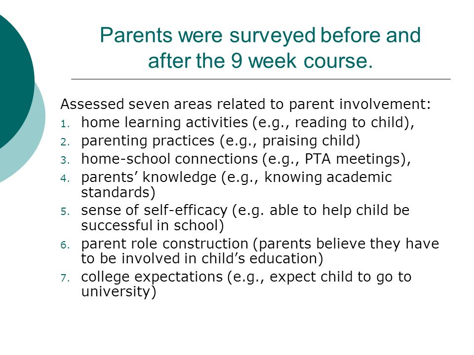 Parents were surveyed before and after the 9 week course.