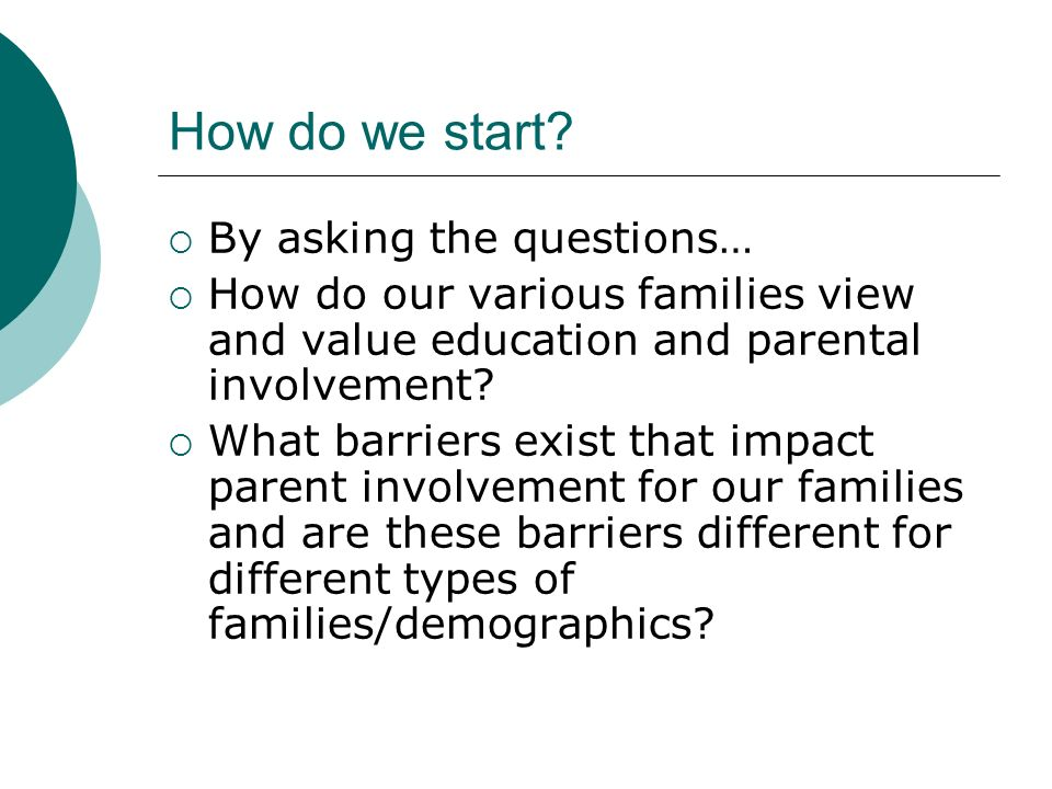 How do we start By asking the questions…