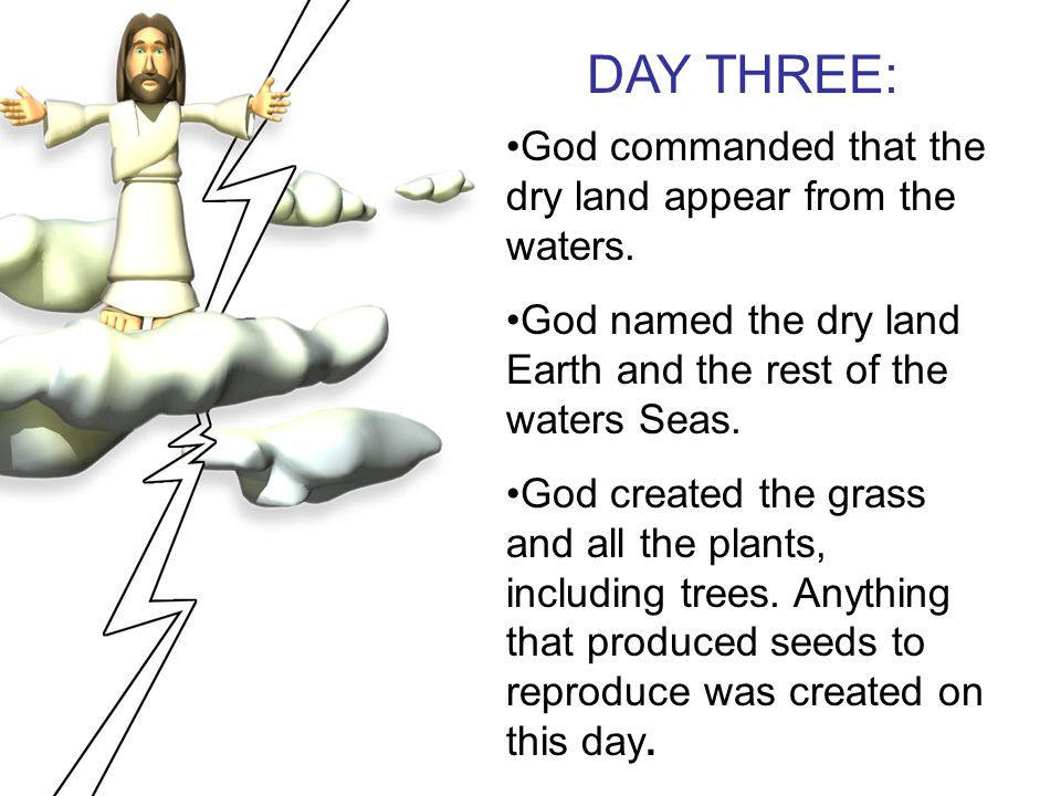 DAY THREE: God commanded that the dry land appear from the waters.