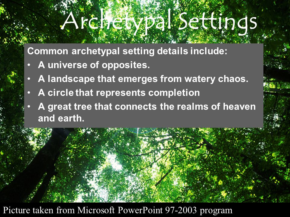 Archetypal Settings Common archetypal setting details include:
