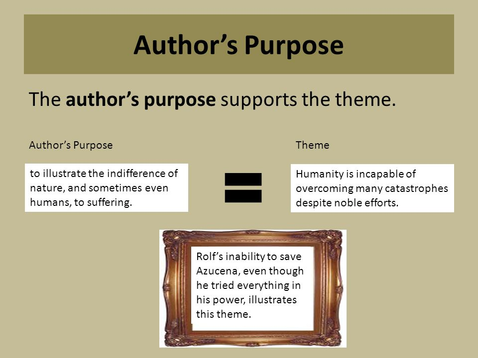 Author's Purpose The author's purpose supports the theme.