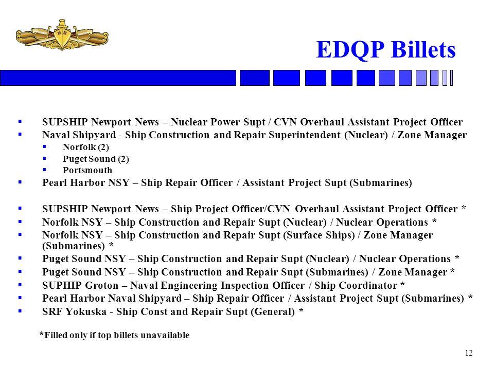 EDQP Billets SUPSHIP Newport News – Nuclear Power Supt / CVN Overhaul Assistant Project Officer.