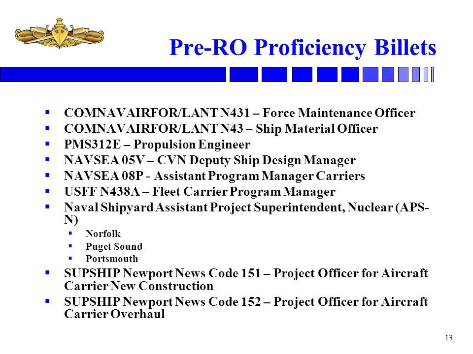 Pre-RO Proficiency Billets