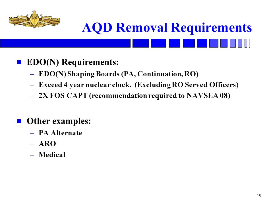 AQD Removal Requirements