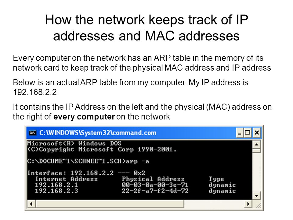 How the network keeps track of IP addresses and MAC addresses