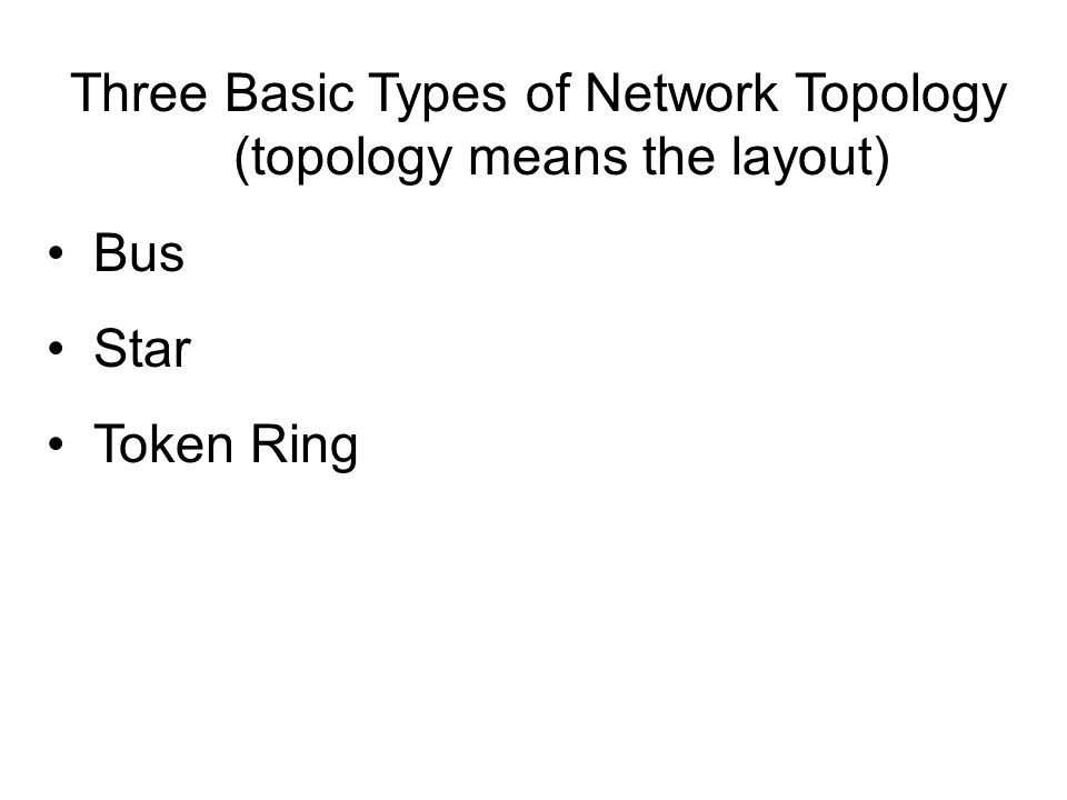 Three Basic Types of Network Topology (topology means the layout)