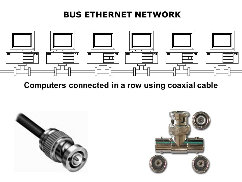 Computers connected in a row using coaxial cable