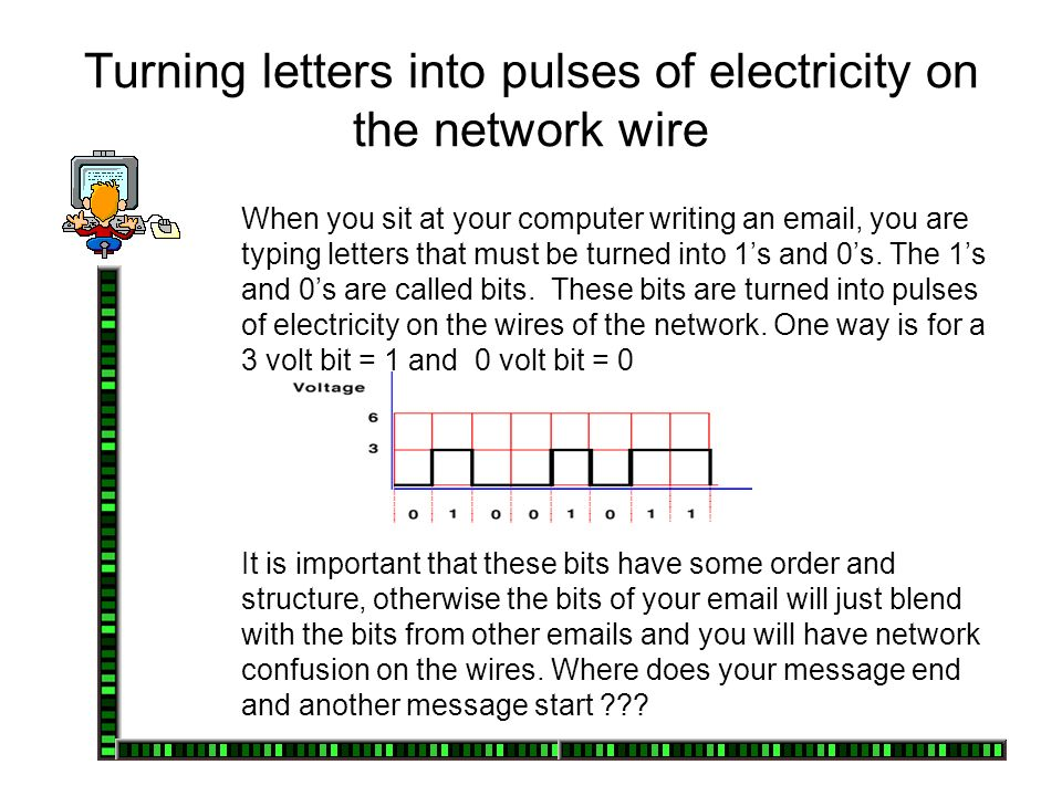 Turning letters into pulses of electricity on the network wire