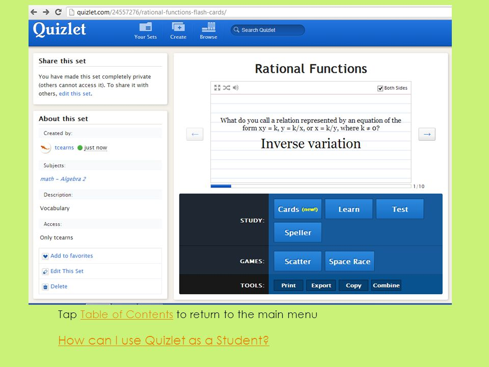 How can I use Quizlet as a Student