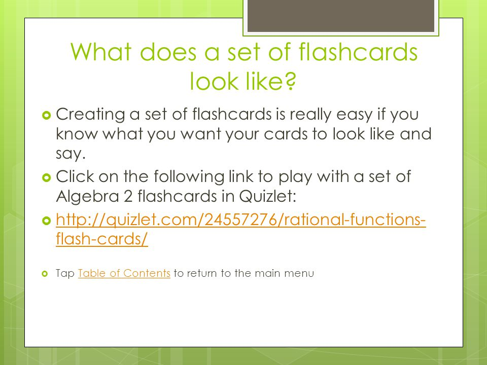 What does a set of flashcards look like