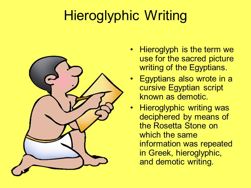 Hieroglyphic Writing Hieroglyph is the term we use for the sacred picture writing of the Egyptians.
