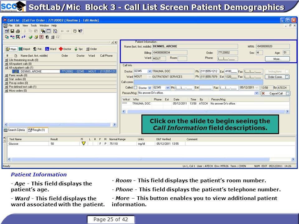 SoftLab/Mic Block 3 - Call List Screen Patient Demographics