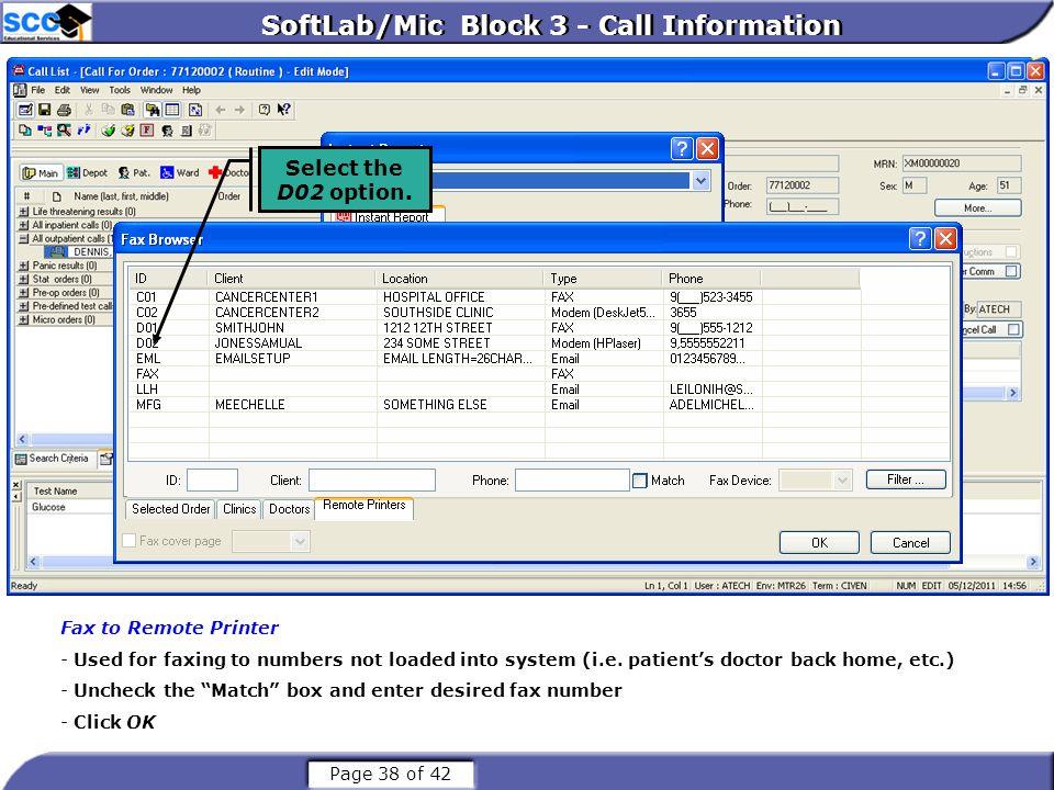 SoftLab/Mic Block 3 - Call Information