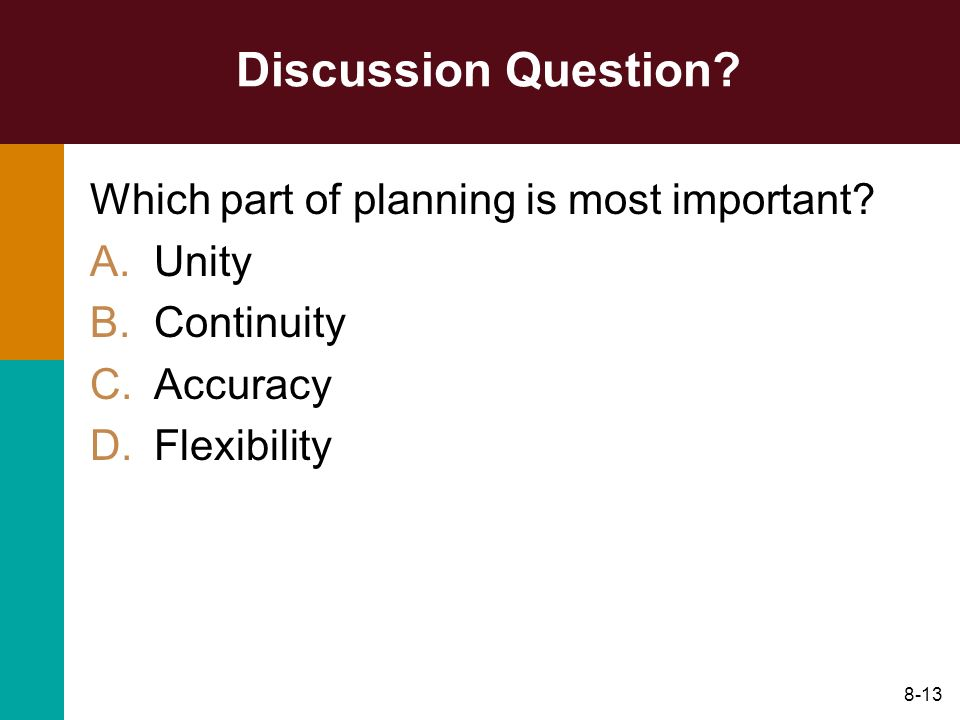 Discussion Question Which part of planning is most important Unity