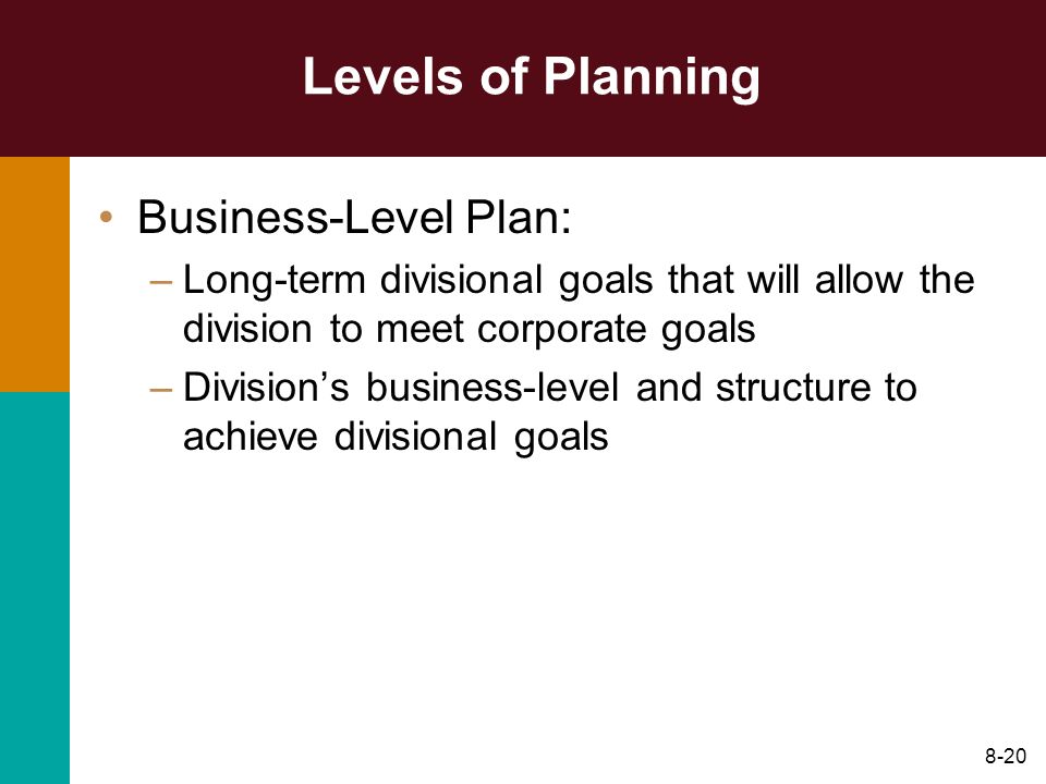 Levels of Planning Business-Level Plan: