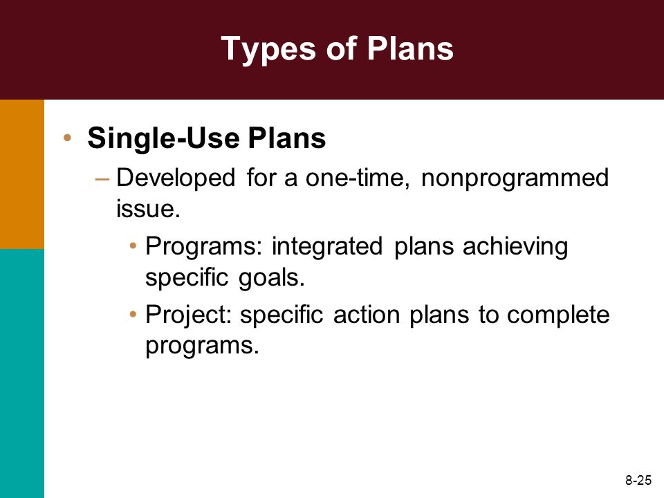 Types of Plans Single-Use Plans