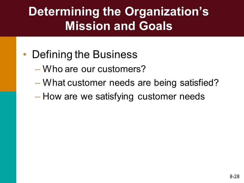 Determining the Organization's Mission and Goals